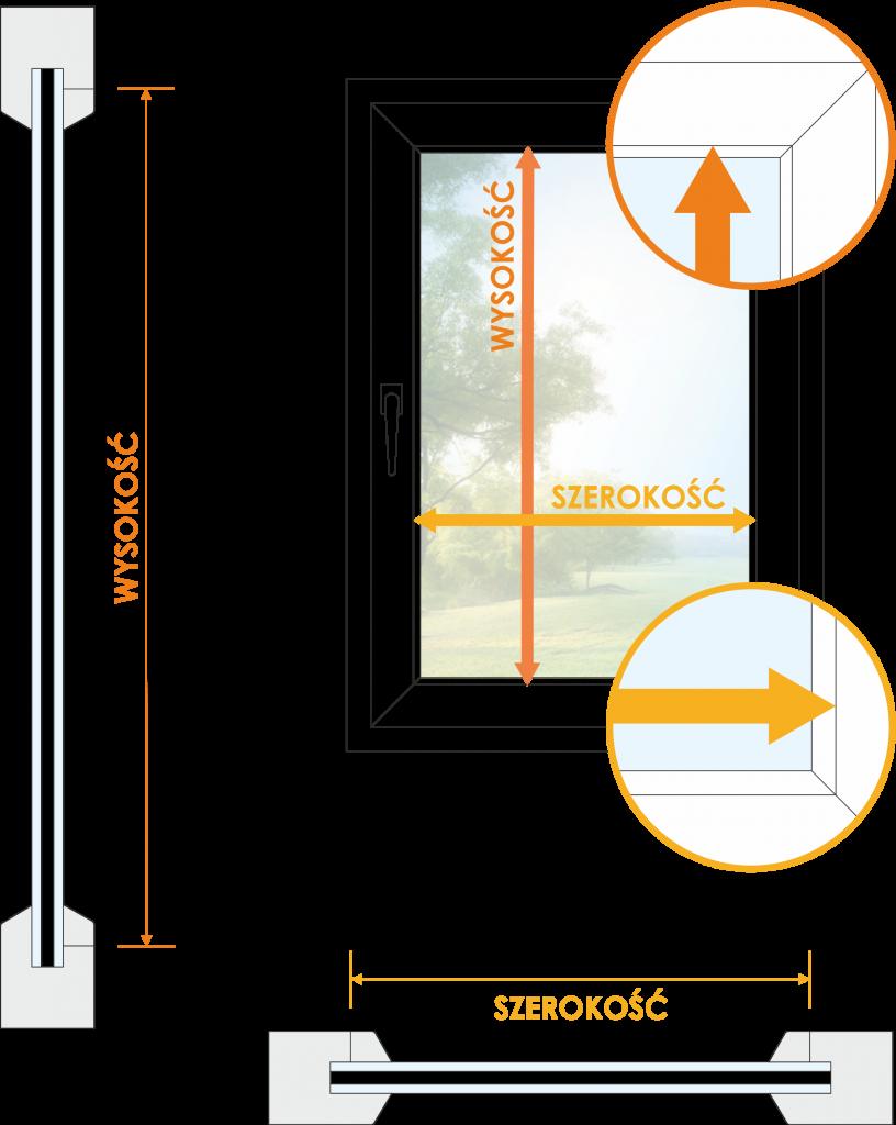 Sposób pomiaru okna pod żaluzję z montażem nawierzchniowym czasnarolety.pl